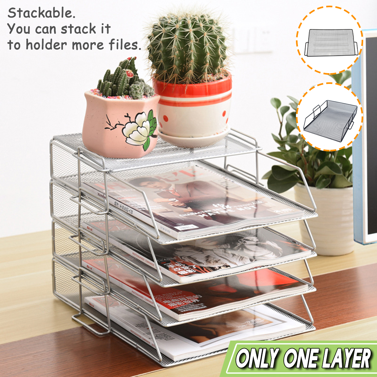 Stackable Iron Mesh A4 Paper Organizer Document File Storage Basket Holder Desktop Office Book Magazine Newspaper Storage Tray