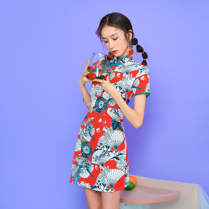 2020 Chinese Dress Printing Dress Female Short Sleeve Improved Cheongsam Chinese Traditional Dress Women Qipao For Wedding Party