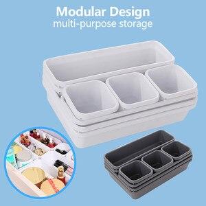 8pcs Drawer Organizers Storage Best Interlocking Narrow Drawer Dividers Box Bag for Bathroom Office Kitchen Home Storage Tool