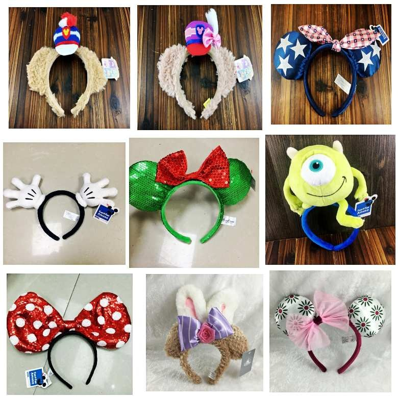 Cartoon Rare Mickey Minnie Mouse Duffy Alien Sequin Flower Dot Ears Costume Headband Cosplay Gift