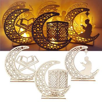 QIFU EID drewniany Ornament Eid Mubarak Ramadan wystrój domu Kareem Ramadan i Eid wystrój Eid AL Adha islamski muzułmanin Party Decor tanie i dobre opinie CN (pochodzenie) W8031 Drewno drewniane Id al-Fitr
