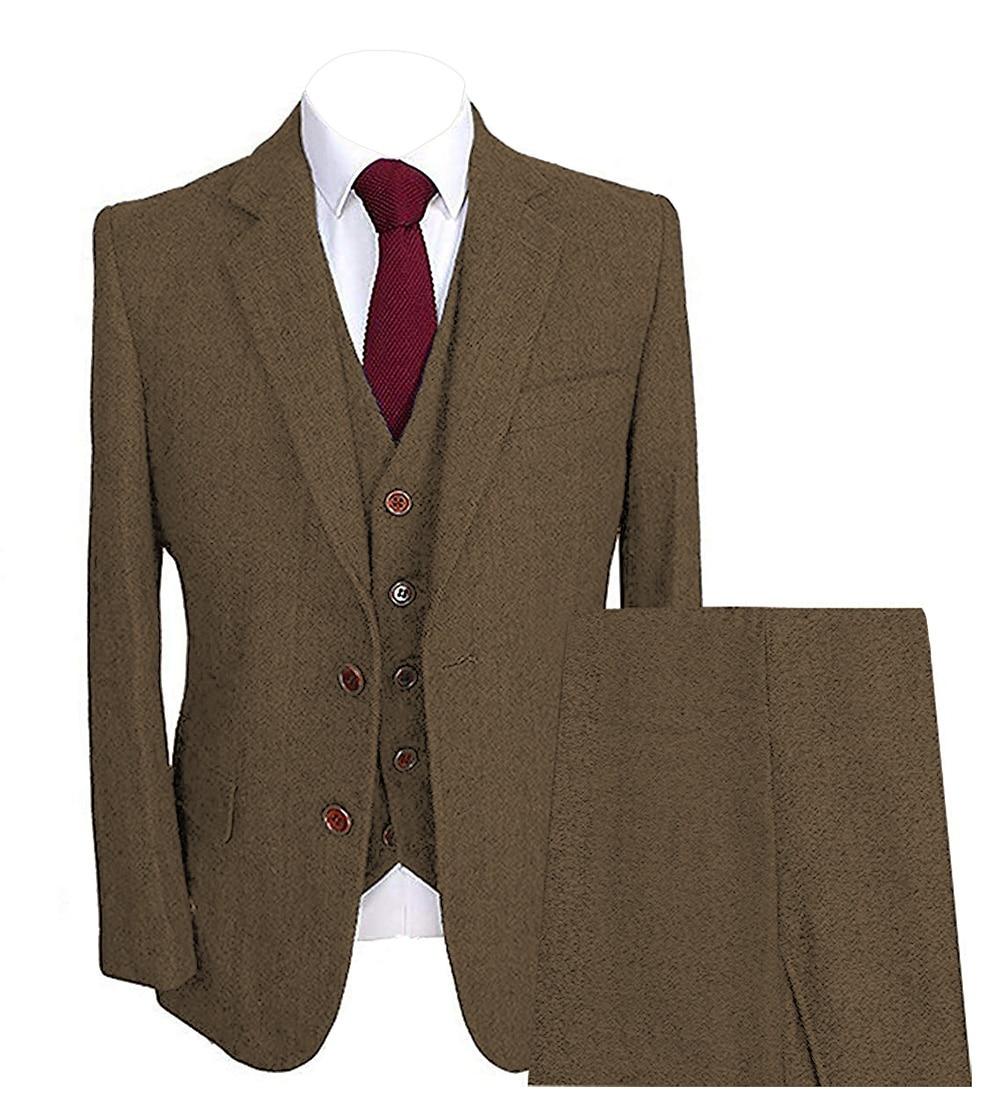 Solovedress Men Wedding Suits Notch Lapel Collar 3 Piece Slim Fit Brown Terno MasculinoTuxedo Jacket High Quality Custom Made M8