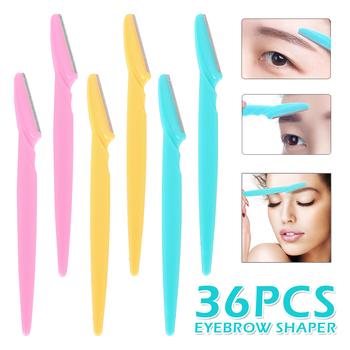 36 Pcs Facial Eyebrow Trimmer Hair Remover Set Eye Brow Shaver Mini Blade Eye Brow Epilator Shaper Eyebrow Scissors Brow Trimmer