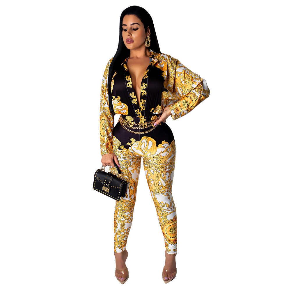 الليمون جينا مثير المرأة العميق الخامس الرقبة كم طويل الذهبي سلسلة طباعة السروال القصير بذلة خمر ثوب بودي كون G4400