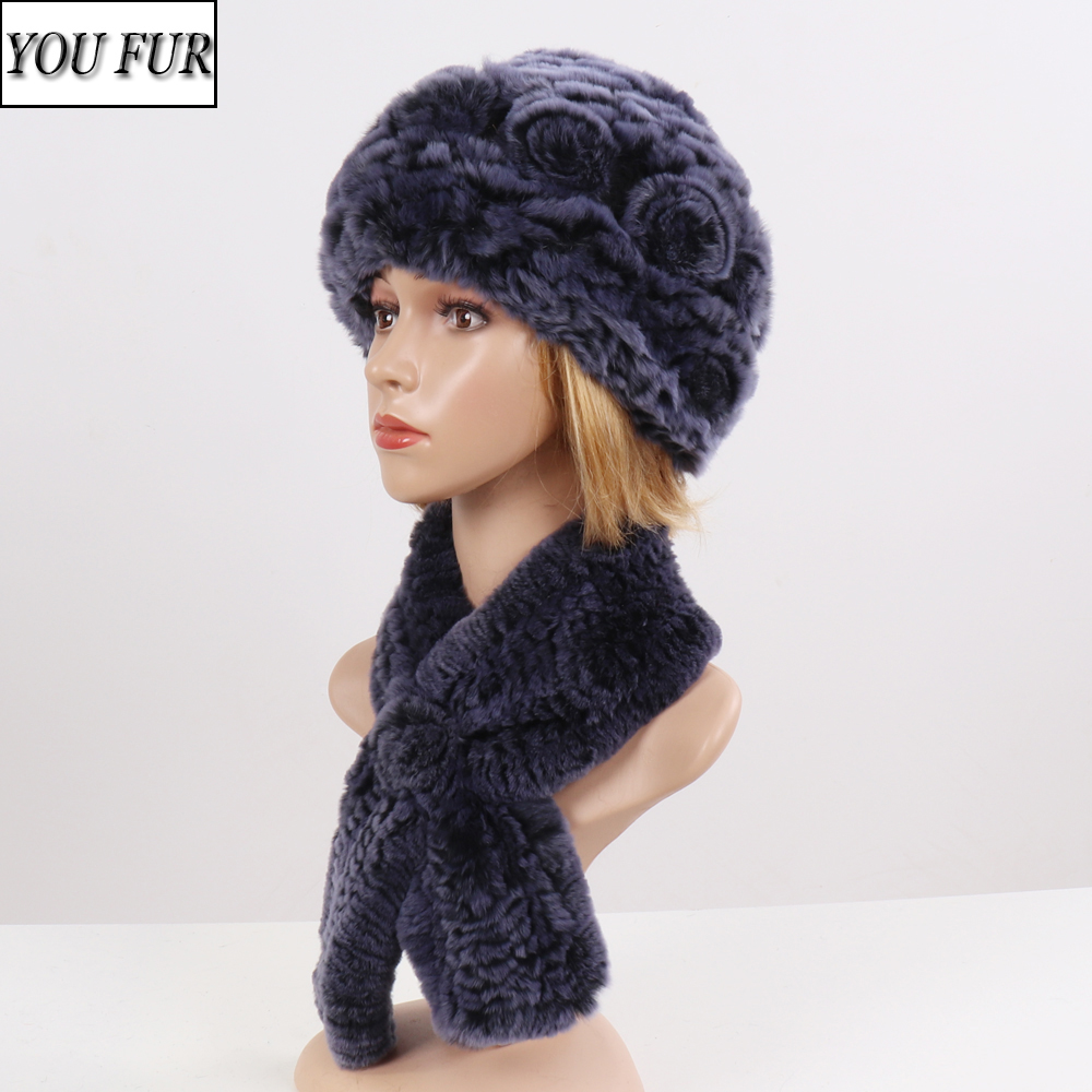 Fashion Women Knitted Real Fur Hat Scarf Sets Winter Warm Rex Rabbit Fur Beanies Hats Scarves Female 100% Natural Fur Hat Scarf