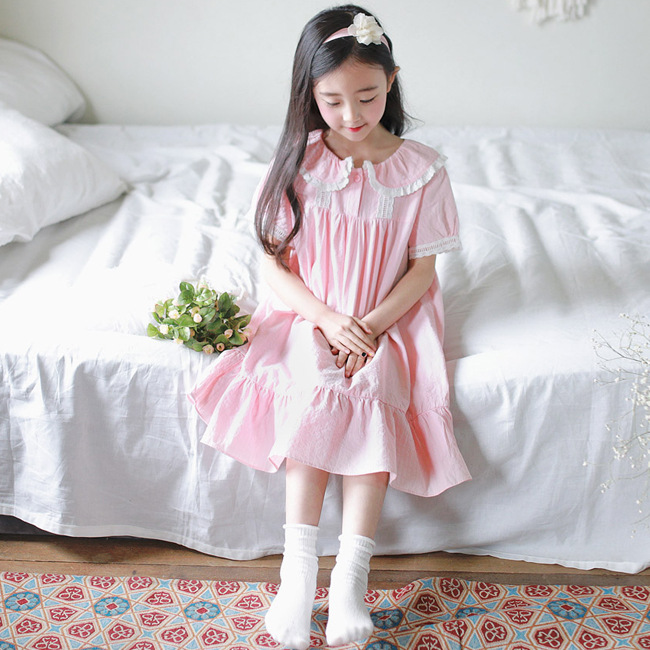 J4004 Summer GIRL'S Lace-up Fairy Nightgown Girls Home Sweet Princess Fold-down Collar Child Nightgown-Style Pajamas