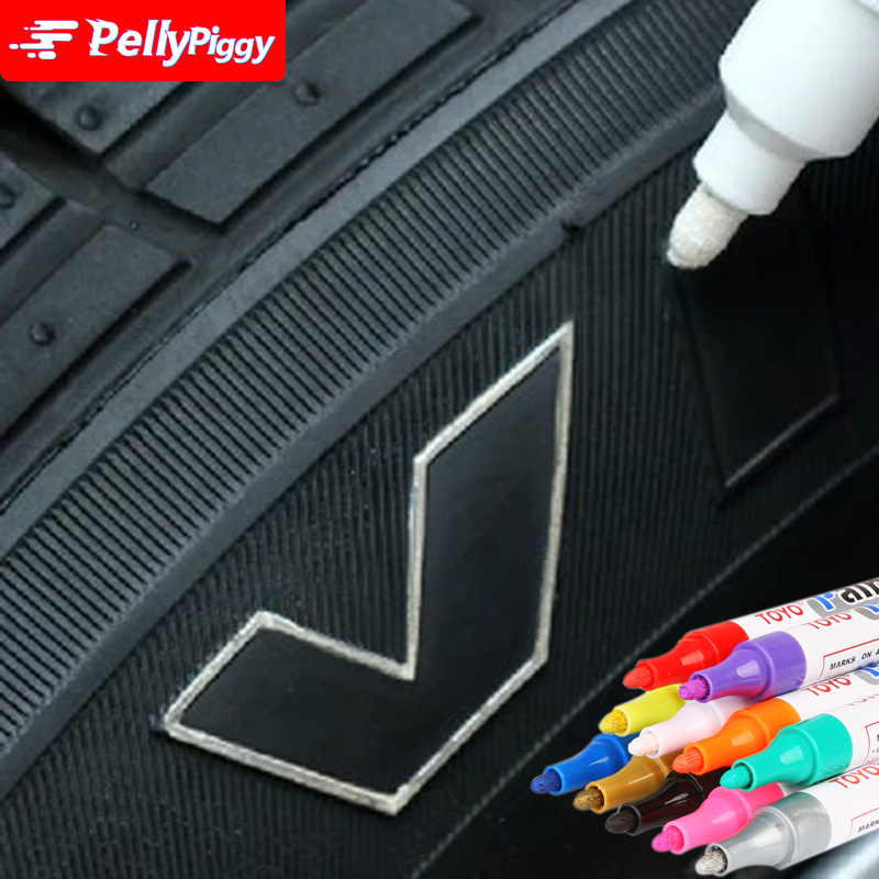1pc White Permanent Oil Based Paint Pen Car <font><b>Bike</b></font> Tyre Tire Metal Marker Waterproof Non-Fading for Tire Paint Pen 11 COLORS image