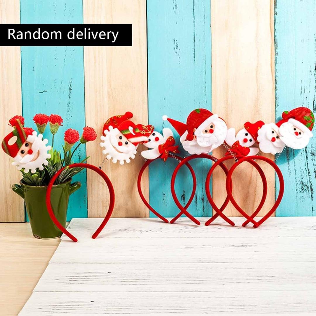 Vintage Christmas Headwear Tree Santa Claus Stocking Reindeer Elk Antlers Snowman Women Headband Trendy Party Decor