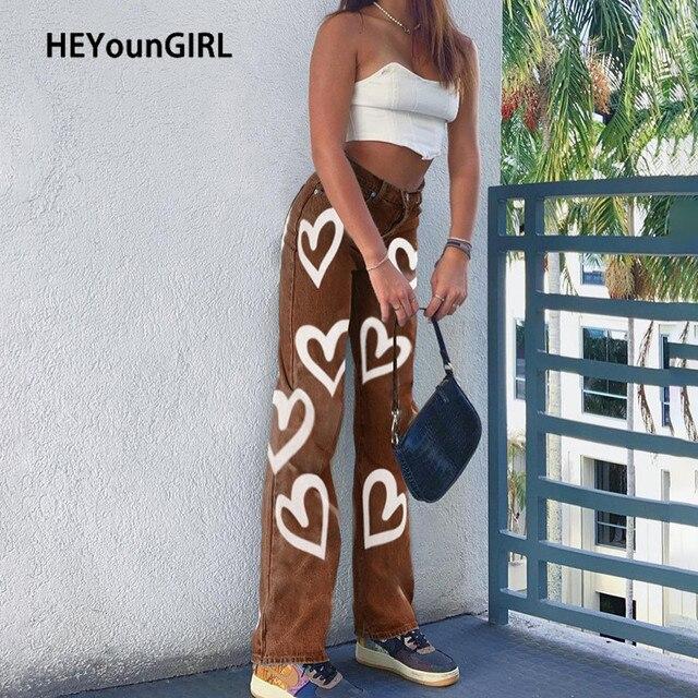 HEYounGIRL Heart Print Y2K High Waist Jeans Women Casual Straight Long Trousers Vintage Fashion Denim Pants Capris Skinny 2020