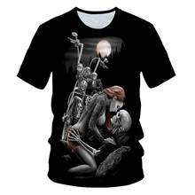 Skeleton Beauty Rock Cool 3D T-shirt Men's Motorcycle Punk 3D Printing T-shirt Men's Clothes T-shirt Summer Top Men Fashion Tren