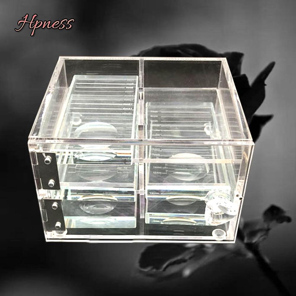 Glasses For Lashes False Eyelash Storage Box Transparent Glass Case Eyelash Cosmetic Makeup Storage Box Eyelashes Stand Tools-in Eyelashes Set from Beauty & Health