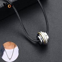 Vnox collier porte-bonheur avec perles porte-bonheur pour hommes Spinner Fortune pendentif acier inoxydable religieux bouddhisme Lotus bijoux