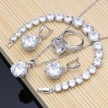 ナチュラル 925 シルバーブライダルジュエリーホワイトジルコンジュエリーセット女性の結婚式のイヤリングペンダントネックレス指輪ブレスレット