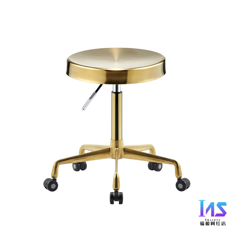 All Stainless Steel Work Bench Hair Salon Does Not Card Hair Salon Chair Rotation Lift Barber Shop Chair Hairdressing Round Stoo