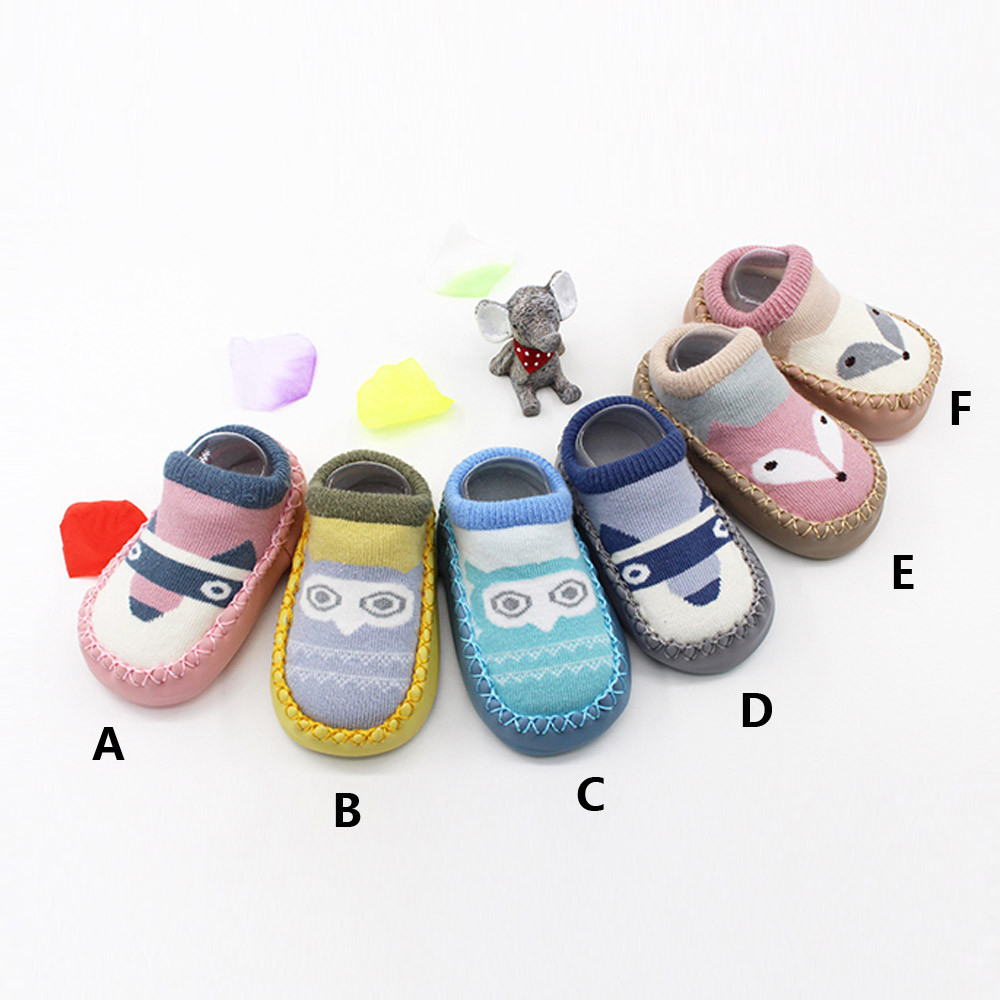 Cartoon Winter Kids Socks Newborn Toddler Baby Girls Boys Anti-Slip Socks Slipper Shoes Boots Skarpetki Dla Dzieci First Walk