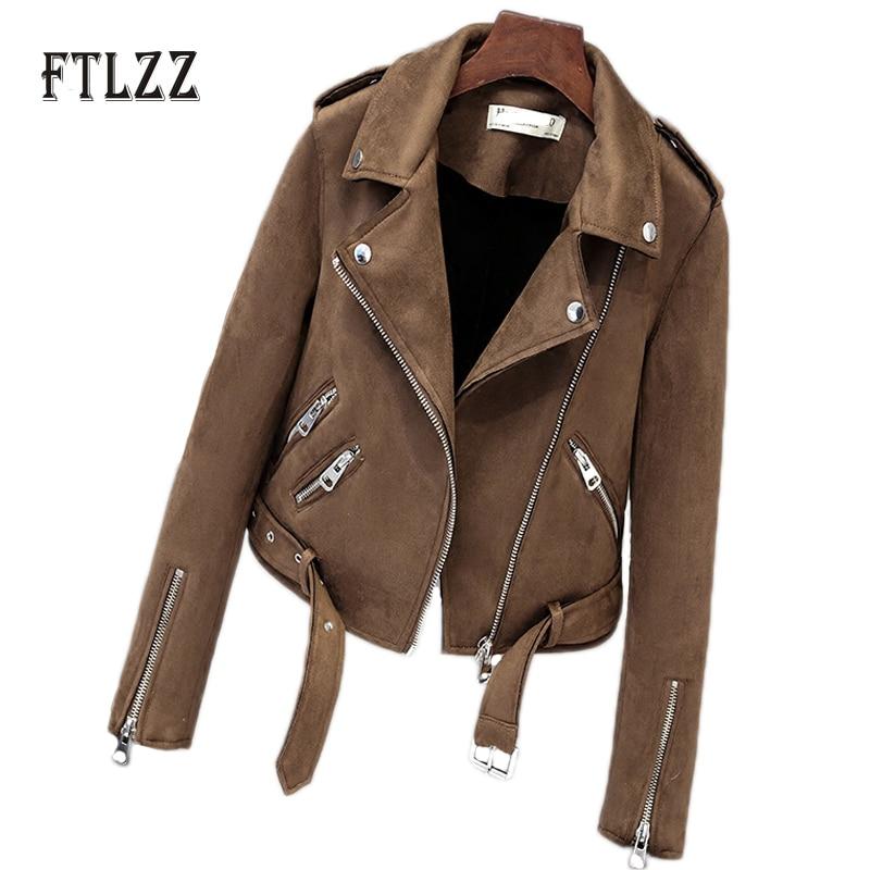 Spring Autumn Women Leather Coats New 2018 Slim Woman Suede Bikers Jacket Ladies Zipper Black Moto Coat Casaco Couro Feminino