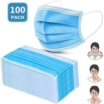 50/100 шт маска для лица одноразовый 3-слойный фильтр не-wove Безопасный Дышащий анти-загрязнения пыли Защитный рот респираторные маски