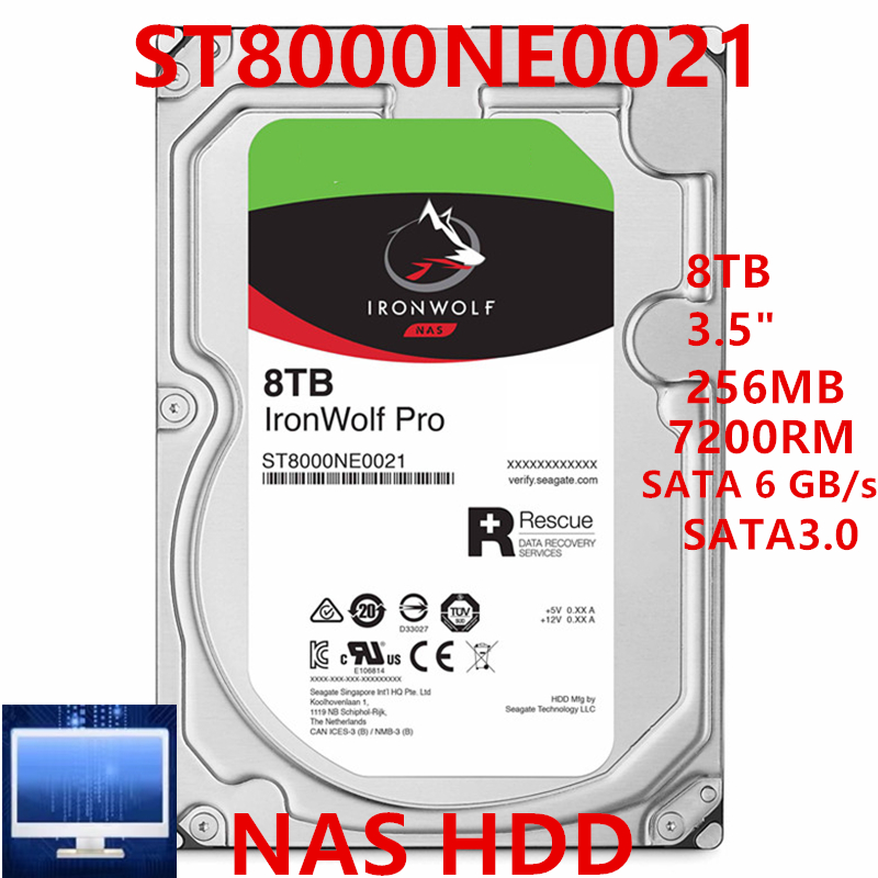 """New HDD For Seagate 8TB 3.5"""" SATA 6 Gb/s 256MB 7200RPM For Internal Hard Disk For NAS Hard Drive For ST8000NE0021 ST8000NE001 1"""