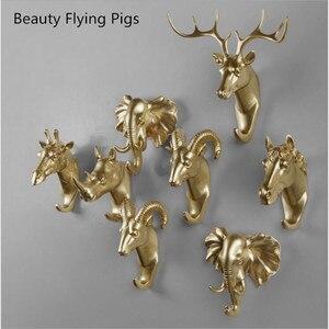 Yaratıcı hayvan duvar kanca askı kancası gergedan geyik at keçi dekoratif yaratıcı reçine banyo kahya üzerinde therack
