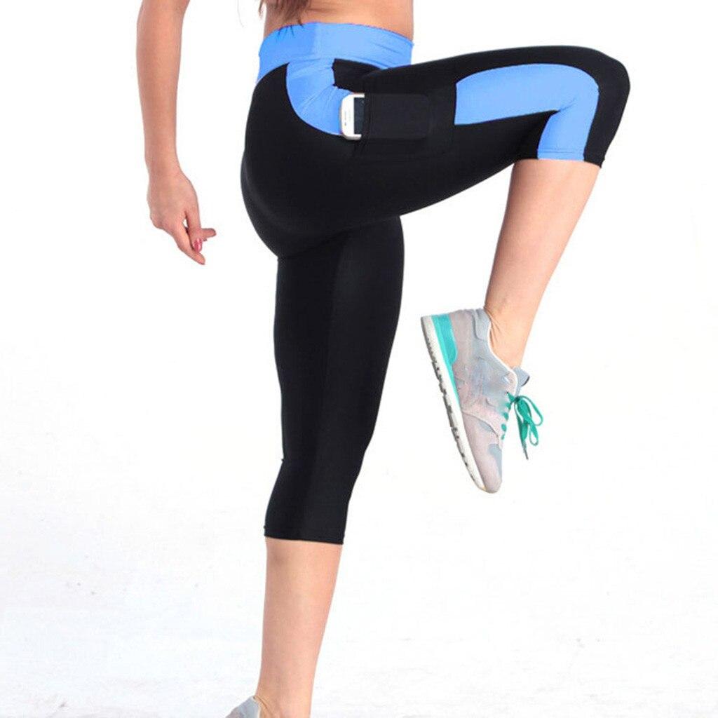leggings sport women fitness soft High Waist Tummy Control Yoga Workout Capris Leggings Side Pockets yoga pants