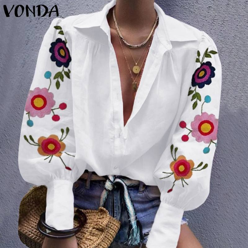 VONDA Autumn Shirts Long Lantern Sleeve Blouses And Tops Womans Vintage Printed Turn Down Collar Shirts Plus Size S-5XL Chemise