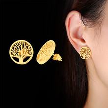Vnox Runde Stud Ohrringe für Frauen Edelstahl Baum des Lebens Schmuck Anti Allergie Zubehör