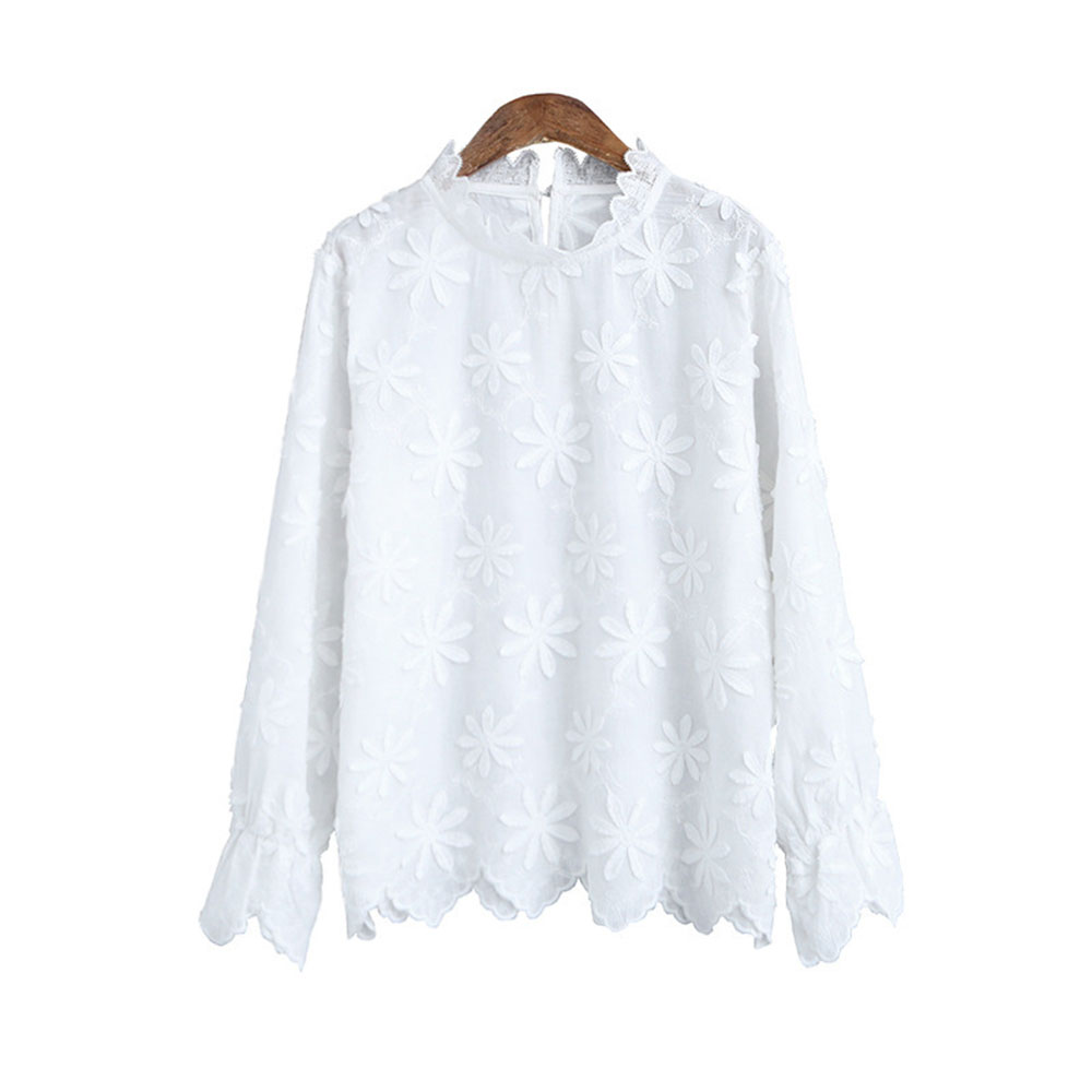 Japan Korean Pure White Blouse Flowers Embroidered Shirt Female 2020 Summer Lace Stand Collar Long Sleeves White Shirt Women