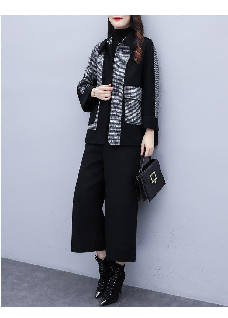 2019 Autumn Winter Black Woolen Two Piece Sets Outfits Women Plus Size Plaid Coat + Wide Leg Pants Suits Elegant Fashion Sets 28