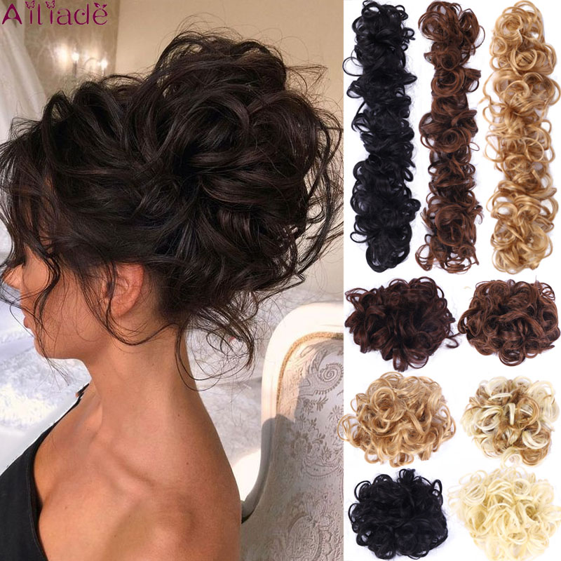 AILIADE Synthetic Hair Bun Extensions Curly Chignons Twining Donut Chignons Hair Piece Scrunchie Scrunchy Updo Hairpiece