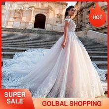 Lace Princess A Line Wedding Dress 2020 Off the Shoulder Crystal Appliques Button Chapel Bride Gowns Customized Vestido De Noiva