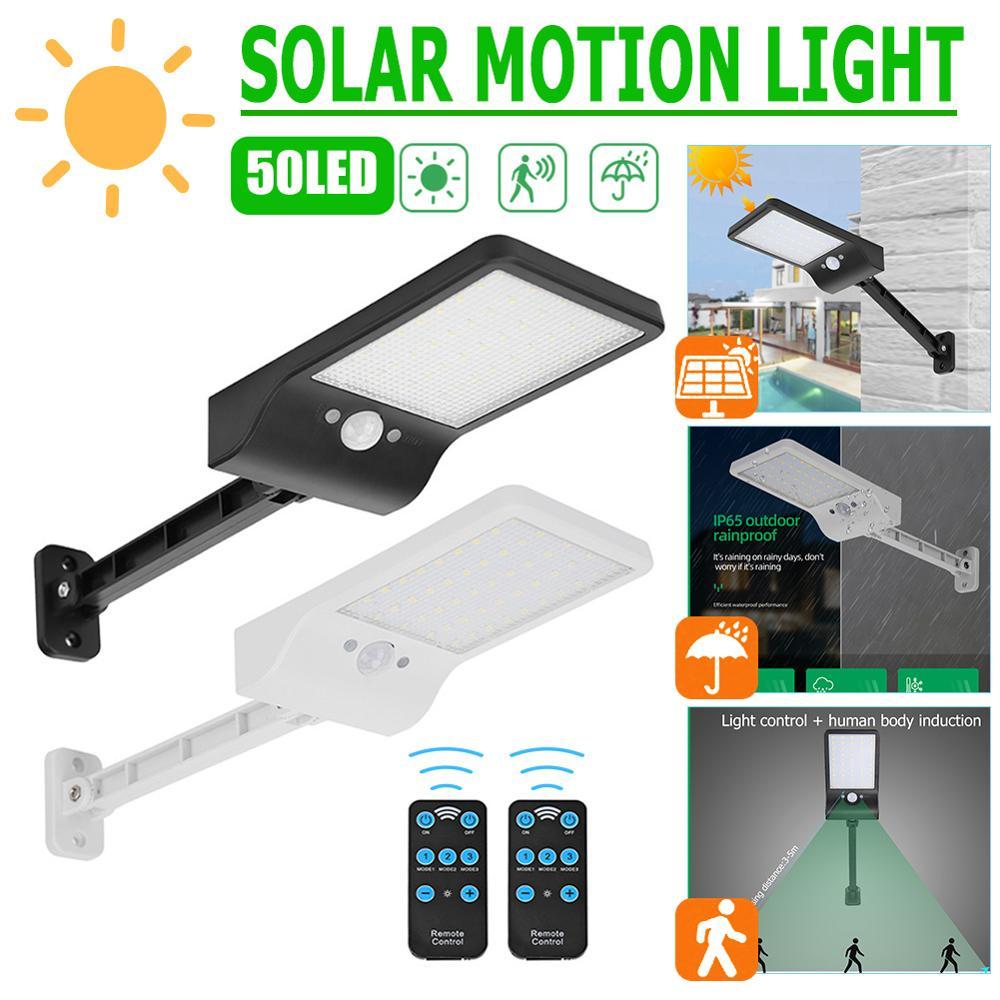 50 LED Remote Control Solar Light PIR Motion Sensor IP65 Outdoor Wall Street Lamp Waterproof Lamp Lights