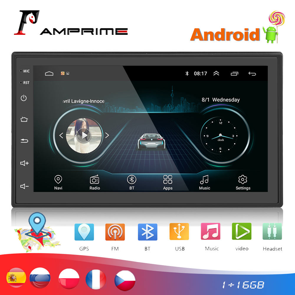 "AMPrime 2 Din Car Radio 7"" Autoradio Android Car Multimedia GPS Bluetooth FM/USB/AUX MP5 Player 2din Car Stereo Backup Monitor"