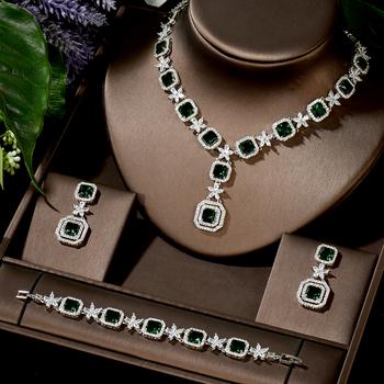 HIBRIDE Trendy 3 sztuk kwadratowe zestawy biżuterii dla kobiet ślub pełen sześcian z cyrkoniami Dubai biżuteria dla nowożeńców zestawy 2020 sukienka N-1481 tanie i dobre opinie Miedziane CN (pochodzenie) Kobiety 1 pcs Necklace+1 pair Earring+ 1 pcs bracelet Naszyjnik kolczyki bransoletka moda zaręczyny