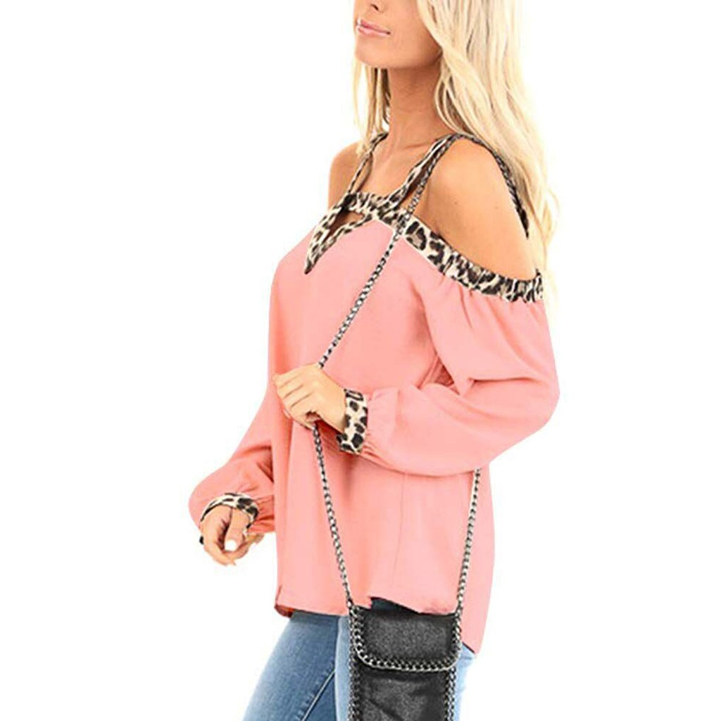 women t shirt long sleeves autumn and winter solid Women Cold Shoulder Shirts Long Sleeve V Neck Casual Elegant Leopard Tops in T Shirts from Women 39 s Clothing