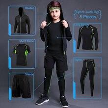 Ensemble de sport pour enfants, combinaison de course, de Compression, vêtements de sport, collants, pantalons pour garçons, survêtement, veste d'entraînement
