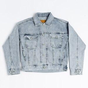 Винтажная Женская куртка 2020 осень зима большие джинсовые куртки вымытые синие джинсы пальто с отложным воротником Верхняя одежда Бомбер ку...