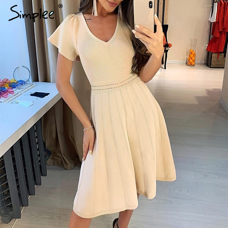 Simplee Sexy V-neck Knitted Dress Women Short Sleeve Transparent Dress Streetwear A-line Office Lady Autumn Short Party Dress