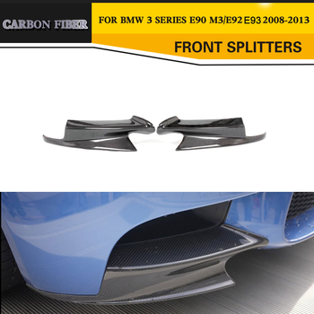 Carbon Fiber Front Splitters Bumper Lip Apron For BMW M3 E90 Sedan E92 Coupe E93 Convertible Body Kit Diffuser 2008-2014 image