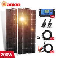 Dokio-Panel Solar monocristalino Flexible, 12V, 200W, para batería de coche, barco y hogar, 200w, 18V, China