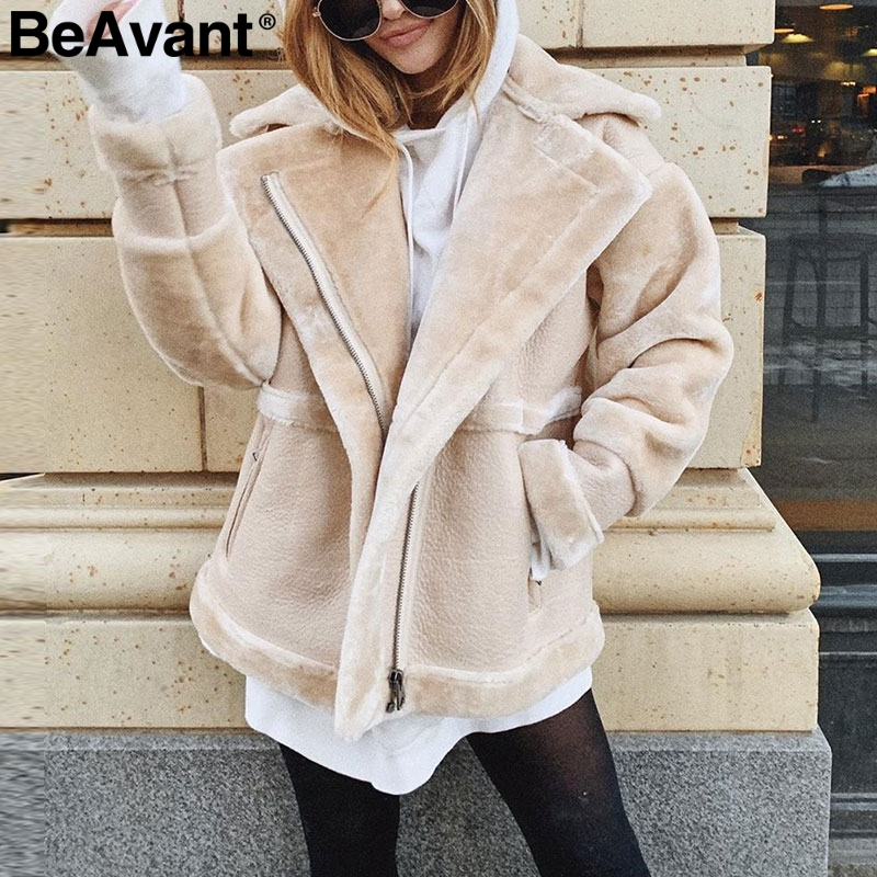 BeAvant Winter Teddy Faux Fur Leather Coat Women Patchwork Faux Zipper Ladies Warm Short Coats Pocket Outwear Female Soft Jacket