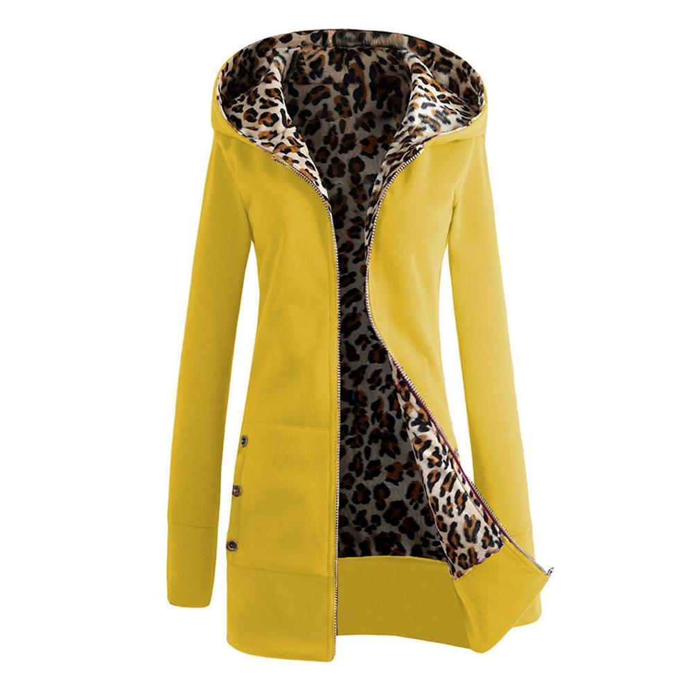 Women Winter Down Solid Coat Hooded Female Parka Thick Padded Female Outwear Cotton Leopord Pattern Plus Velvet Large Size Coat