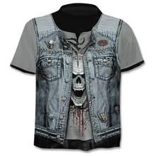 T-shirt 3d gotica estate uomo 2021 nuova maglietta teschio 3d camicia da uomo manica corta divertente T-shirt stile Cowboy occidentale