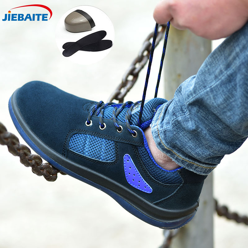 Men Breathable Work Safety Shoes Steel Toe Cap Boots Anti-smashing Anti-puncture Anti-slip Casual Construction Safety Boots