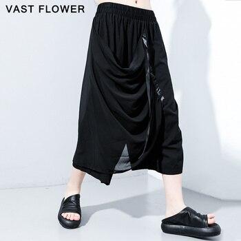 Chiffon Patchwork pleated Harem Trousers Women New Black Elastic Waist Summer 2020 Loose Casual Ladies Pants Fashion Streetwear