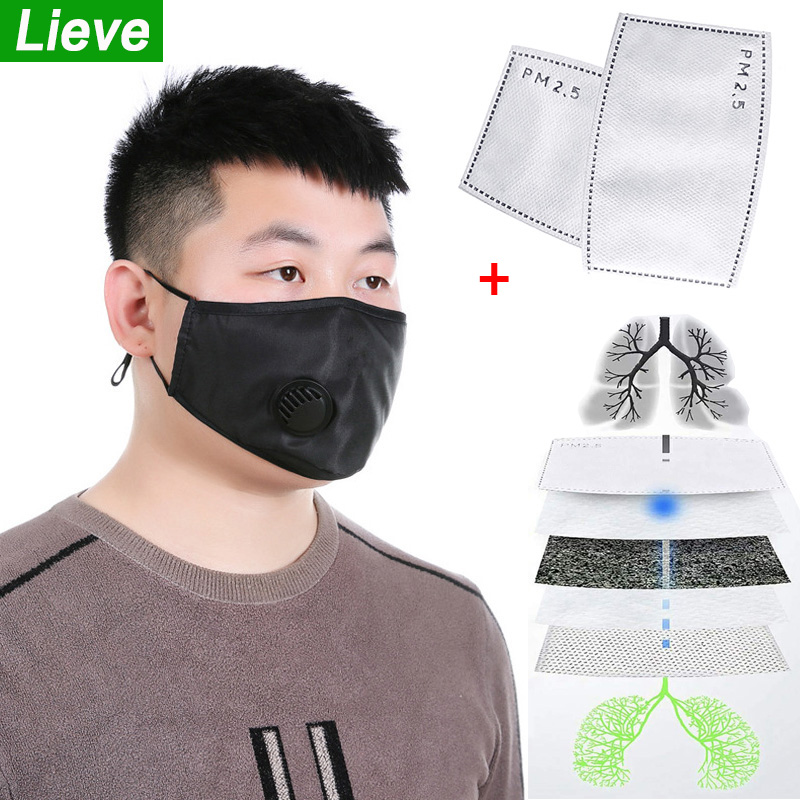 Dust Mask With PM2.5 Filters Reusable Mouth Mask Protective Respirator Masks Anti Dust Windproof Cotton Face Anti-Virus Mask