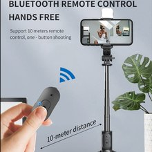 Q02S Wireless Bluetooth Selfie Stick Foldable Expandable Tripod Monopod With LED Fill Light For iPhone Android Phone
