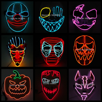 2020 Fashion Movie Cosplay Mask Light up LED Mask Halloween Party Masque Masquerade Masks Halloween Horror Mask Drop Ship 2020 hot sales fashion led mask luminous glowing halloween party mask neon el mask halloween cosplay mask mascara horror maska