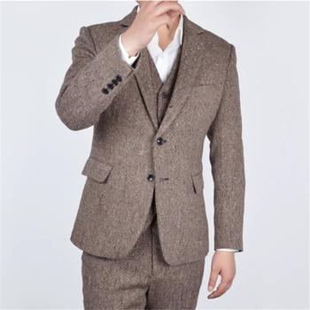 Esmoquin de novio de solapa de muesca hecho a medida y trajes de ventilación lateral para hombres chaqueta de padrino de boda (cha