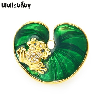 Wuli&baby Enamel Frog Luotus Leaf Brooches For Women Cute Animal Party Casual Brooch Pins Gifts crystal enamel green gecko brooches lizard brooch pins animal corsage chameleon scarf buckle