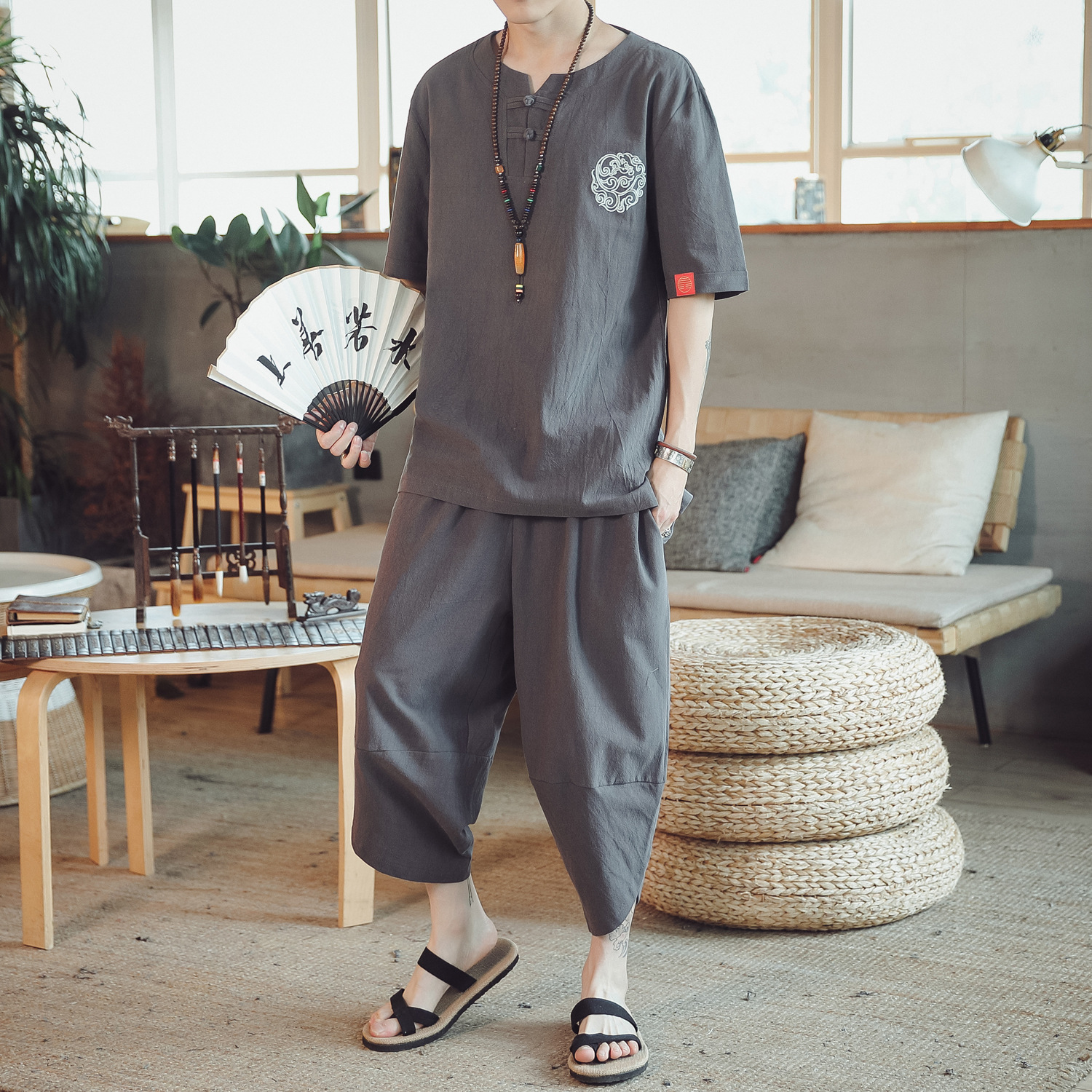 2019 New Style Summer Men's Cotton Linen Embroidered Loose-Fit Chinese-style Set Thin MEN'S Short Sleeve Shirt Casual Two-Piece